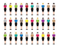 Female/ woman occupation icons. A set of professions people. Female avatar. Fullbody. Vector illustration Stock Photos