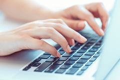 Female Woman Office Worker Typing On The Keyboard Stock Image
