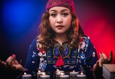 Female woman seer teller psychic fortuneteller. Predicting fate for sign stock images