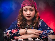Female woman seer teller psychic fortuneteller. Predicting fate for sign Stock Image