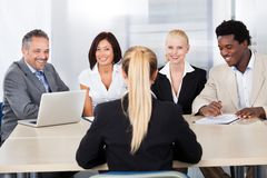 Female woman sitting at interview Stock Photography