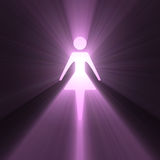 Female woman symbol glowing light flares Royalty Free Stock Image