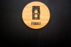 Female wood label Royalty Free Stock Image