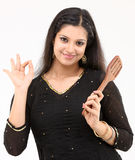 Female with wooden stick Royalty Free Stock Images