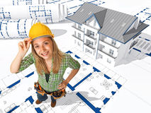 Female worker on 3d blueprint Stock Photography