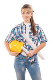 Female worker with blueprints Stock Images