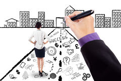 Female worker with business doodles Royalty Free Stock Photography