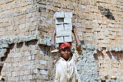Female worker carry bricks Stock Photography