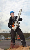 Female worker with chainsaw Stock Photos