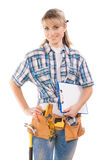 Female worker with clipboard and tools isolated Stock Image