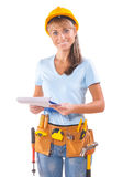 Female Worker With Clipboard On White Background Royalty Free Stock Images