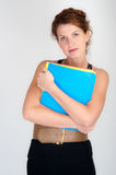 Female worker with closed body language Stock Photography