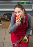 Female worker while coffee break Royalty Free Stock Photography