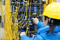 The female worker connects the network cable to the switch Stock Image