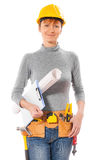 Female worker with construction tools holding clipboard and blue Royalty Free Stock Image