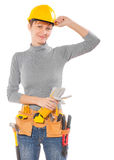 A female worker with construction tools isolated on white Royalty Free Stock Photo