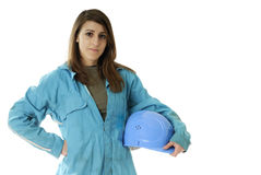 Female worker with coverall and helmet Stock Image