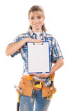 Female worker demonstrating clipboard with empty sheet isolated Royalty Free Stock Image