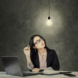 Female worker finding problems solution Stock Photos