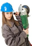 Female worker grinder Royalty Free Stock Images