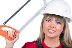 Female worker with hacksaw Stock Image