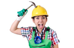 Female worker with hammer isolated on white Stock Photos