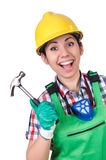 Female worker with hammer isolated on white Royalty Free Stock Images