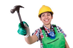 Female worker with hammer on white Stock Photos