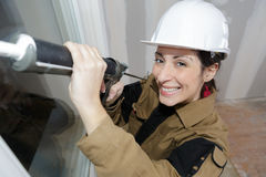 Female worker happy with work Stock Image