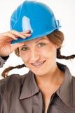 Female worker hardhat Royalty Free Stock Photos