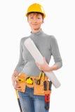 Female worker holdin big blueprint isolated on white background Royalty Free Stock Photography