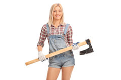 Female worker holding an axe Royalty Free Stock Photo