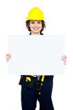 Female worker holding blank whiteboard Royalty Free Stock Photo