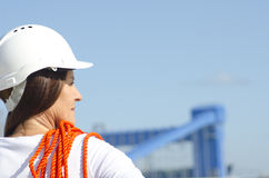 Female worker industrial background Stock Photos