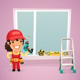 Female Worker Is Installing the Window Stock Image