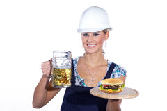 Female worker makes lunch break Royalty Free Stock Images