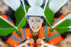 Female worker in mirrow reflection Royalty Free Stock Photos
