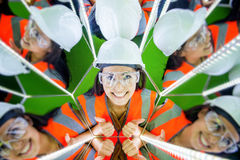 Female worker in mirrow reflection Royalty Free Stock Photo