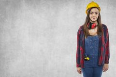 Female worker, next to copy space Royalty Free Stock Image