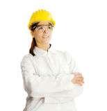 Female worker over white background Stock Image