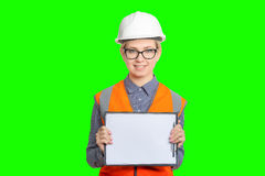 Female worker portrait. Isolated female worker portrait on the green background Royalty Free Stock Images