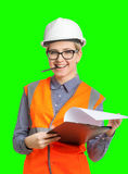 Female worker portrait. Isolated female worker portrait on the green background Stock Images