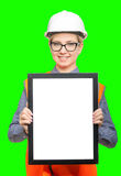 Female worker portrait. Isolated female worker portrait on the green background Stock Photos