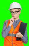 Female worker portrait. Isolated female worker portrait on the green background Royalty Free Stock Photos
