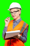 Female worker portrait. Isolated female worker portrait on the green background Royalty Free Stock Photography