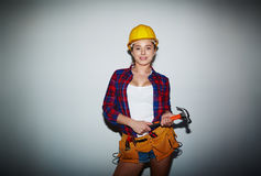 Female Worker Posing for Photography royalty free stock photos