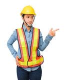 Female worker with Protection Equipment pointing on copy space, Stock Image