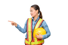 Female worker with Protection Equipment pointing on copy space, Royalty Free Stock Photo