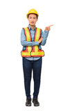 Female worker with Protection Equipment pointing on copy space, Royalty Free Stock Photography