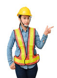 Female worker with Protection Equipment pointing on copy space, Royalty Free Stock Images